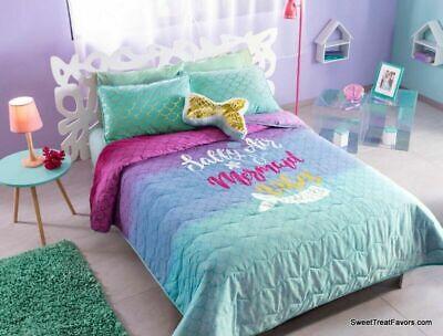 MERMAID GOLD Comforter Reversible Bedding Teens Girls QUEEN Gift Decoration 4PC EBay