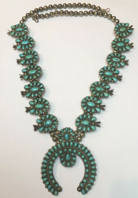 Vintage Navajo Old Pawn Sterling Silver Turquoise Squash Blossom Necklace 168.3g