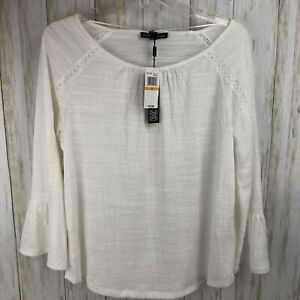 Cable-amp-Gauge-Womens-Size-Small-New-Ivory-Boho-Bell-Sleeve-Tunic-Top-S