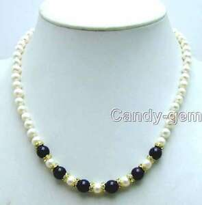6-7mm-Natural-White-FW-Pearl-Necklace-for-Wome-amp-Round-Black-Agate-17-034-Chokers