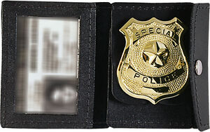 Black-Leather-Law-Enforcement-Badge-amp-ID-Holder
