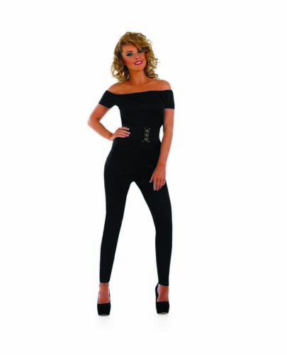 Womens Black 70s Movie Sweetheart Catsuit S XL Sandy Grease Fancy Dress Costume