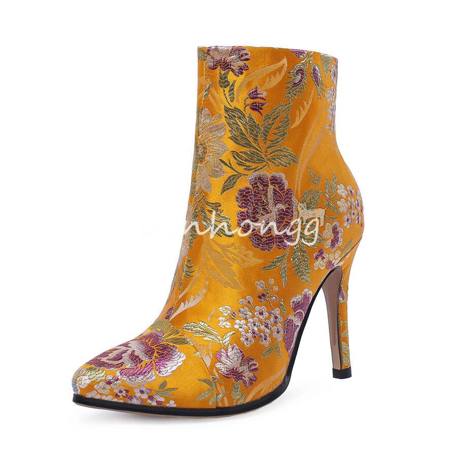 Stiefeletten Stickerei Stiletto Reißverschluß Damenschuhe Stickerei Stiefeletten Ankle Stiefel Pumps Sexy 482b49