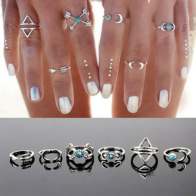 6 Pcs Turquoise Arrow Moon Statement Midi Rings Set Women Jewelry Fashion