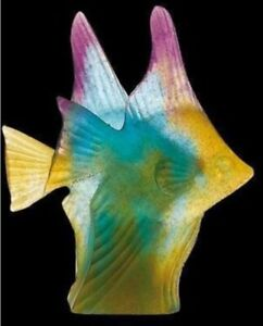 DAUM-PATE-DE-VERRE-COUPLE-DE-POISSONS-BLUE-AMBER-CRYSTAL-FISH-COUPLE-PERFECTION