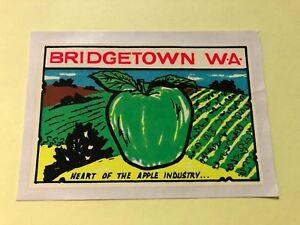 VINTAGE-1960-039-s-BRIDGETOWN-W-A-Heart-of-the-Apple-Industry-Souvenir-Transfer