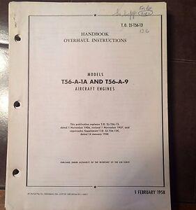 original 1958 allison t56 a 1a and t56 a 9 engine overhaul manual ebay rh ebay com Allison T56 Diagram T56 Allison Valve Body