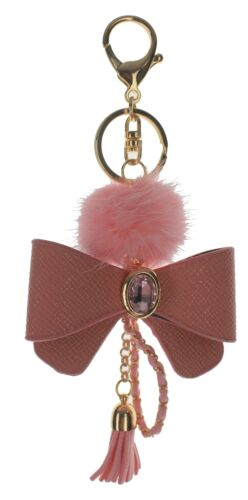 Pink Bow with Tassel and Fur Puff Key Chain Fob Phone Purse Charm Gold Toned