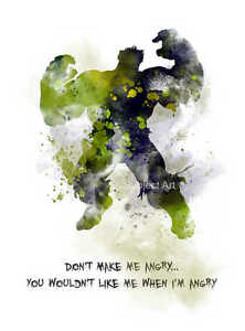 Hulk Quotes | Art Print Incredible Hulk Quote Illustration Superhero Movie Wall