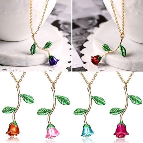 Women Elegant Fashion 18K Gold Plated Rose Flower Pendant Necklace Jewelry Gift