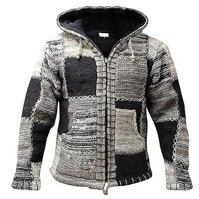 Mens Wool Patchwork Fleece Lined Hippy Jacket Boho Superwarm Winter Zip Jumper