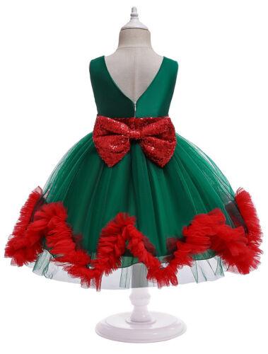 Christmas Children Girls Baby Holiday Dress Birthday Princess Party Tutu Dress