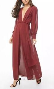 Forever-21-Sheer-Chiffon-M-slit-Long-Sleeve-Maxi-Dress-Long-Burgundy-Maroon-M