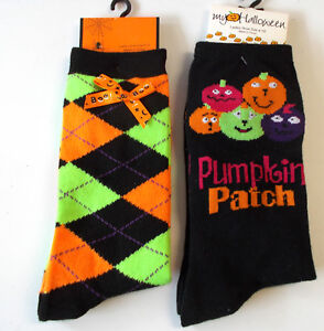 Halloween Socks Argyle Jack O Lantern Pumpkin patch Lot 2 ...