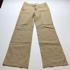 Banana Republic Sz 4 Linen Blend Tan Trouser Pants A712
