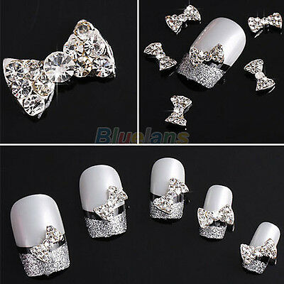 Wholesale 10pcs 3D Clear Alloy Rhinestone Bow Tie Nail Art Slices DIY Decoration