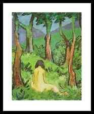 Otto Müller Sitzender Akt unter Bäumen Poster Bild Kunstdruck und Rahmen 58x48cm