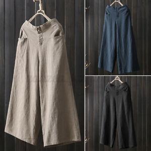 Mode-Femme-Pantalon-Couleur-Unie-Jambe-Large-Coton-Decontracte-lache-Oversize