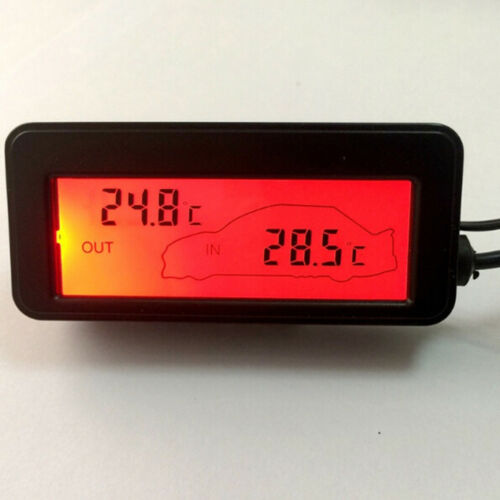 Mini digital car lcd display indoor outdoor thermometer 12v vehicles sensor QY