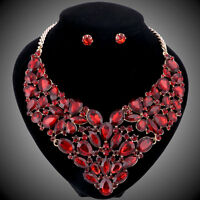 Women Gold/Plated Ruby Rhinestone Crystal Pendant Necklace Earring Jewelry Set