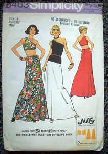 1970's Women's off one shoulder for knits top & skirt pattern 6463 sz 14 unused