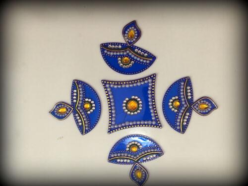 Acrylic Rangoli with Studded Stones Floor Decorations-Design1