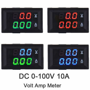 Dual-Display-LED-DC-0-100V-10A-Digital-Voltmeter-Ammeter-Panel-Amp-Volt-Gauge