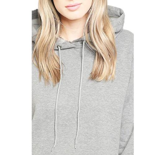 Haute Gray Pink Velvet Lace Trim Active Sweater Hoodie Tunic Sweatshirt S M L XL