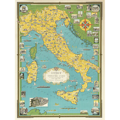 Chase 1944 Pictorial Map Italy Vatican City Canvas Art Print Poster