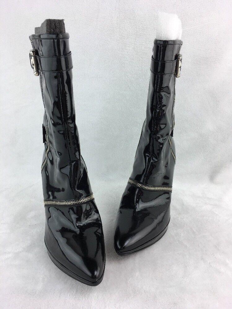 Stuart Weitzman Zipcode Black Patent Leather Ankle Boots Size 9M  D150/