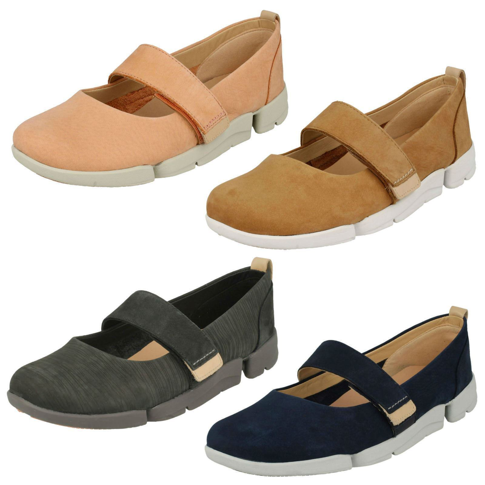 Ladies Clarks Tri Carrie Nubuck Leather Casual Flat Shoes D Fitting