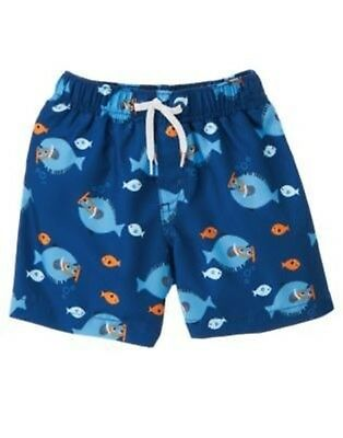 GYMBOREE FIRST MATEY NAVY w// SHARKS N SHIP SWIM TRUNKS 0 3 6 12 18 24 NWT
