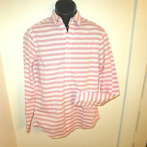 Gap mens l dress shirt pink white gray striped long sleeve for Mens red and white striped dress shirt