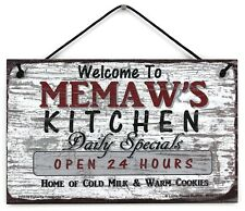 "Welcome to Memaw/'s Place Cookies Milk Kids Spoiled Grandparent Sign 5/""x10/"""