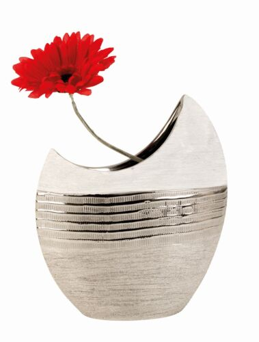 Moderne Deko Vase Blumenvase aus Keramik weiß//silber Höhe 23 cm