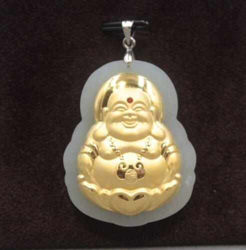 Natural HeTIan Jade Jade avec or 24K sourire bouddha gros pendentif 42 mm H