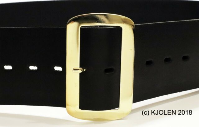 Large Black Leather Santa Belt Gold Buckle Adult Pirate Xmas Costume Accessory
