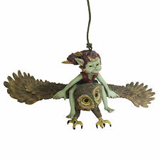 FABULOUS GARDEN PIXIE FLYING ON OWL HANGING ORNAMENT GOBLIN NEW & BOXED 39109
