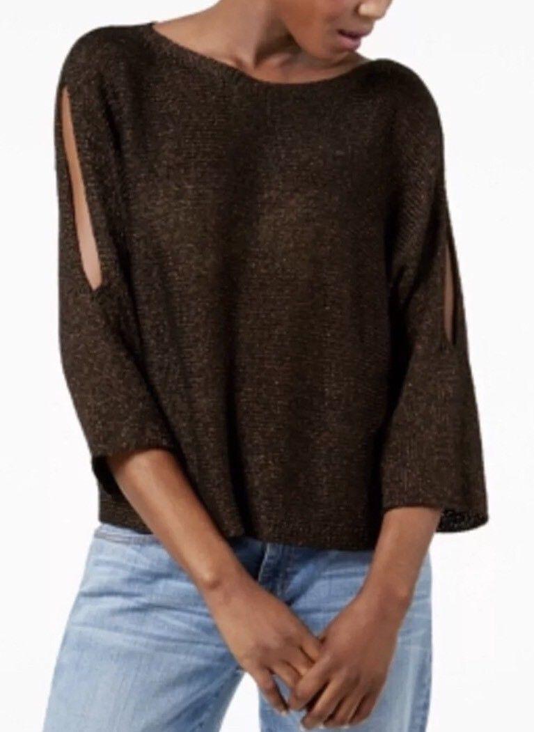 Eileen Fisher 3X Bronze Bateau Neck Top Sweater NWT  Organic Linen Nylon New