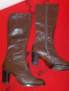 987148c5080 GIUSTI ITALIAN LEATHER Boots Vintage Brown Knee High Boots Women s ...