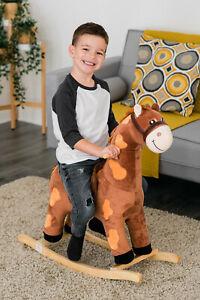 Cheval à bascule en bois Enfant Jouet Jeu Animal Rocker Ride Sur Walker Nursery Enfants