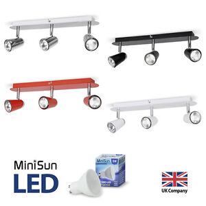 Modern-3-Way-Bar-LED-GU10-Ceiling-Spotlight-Spot-Light-Fittings-Chrome-Colours