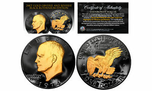 Black-RUTHENIUM-Eisenhower-IKE-Dollar-Coin-with-24KT-Gold-Clad-Features-2-SIDED