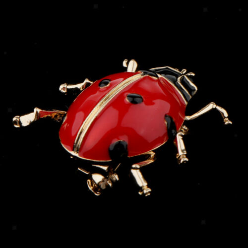 Enamel Crystal Insect Ladybug Brooch Pin Gold Tone Alloy Scarf Collar Pins