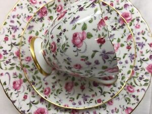 Shelley-BRIAR-ROSE-CHINTZ-RIPON-SHAPE-CUP-SAUCER-amp-PLATE-14263-GOLD-TRIM