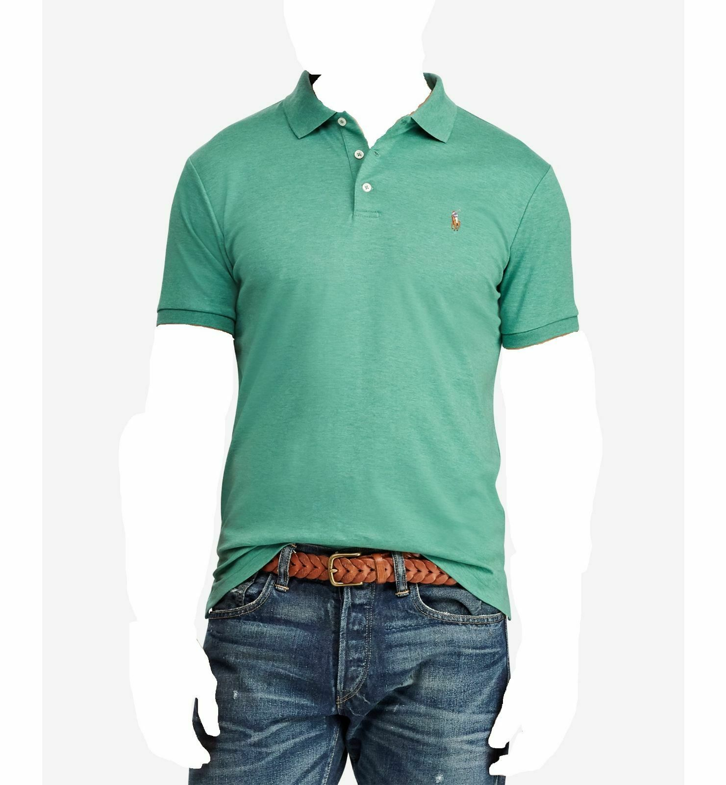 277715da3 POLO RALPH LAUREN Mens CLASSIC FIT GREEN SHORT SLEEVE PONY LOGO TOP SHIRT L