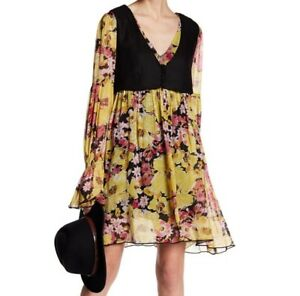 $148 NWT FREE PEOPLE SzXS ALICE VESTED V-NECK LONG SLEEVE PRINT DRESS BLACK COMB