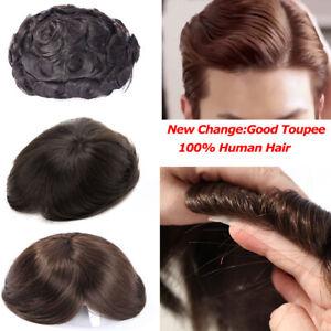 Toupee-Remy-Human-Hair-Hairpiece-Micro-Thin-Skin-NPU-PU-Replace-Super-Men-039-s-US