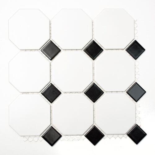 Keramikmosaik Fliese Octa weiß matt schwarz glänzend Wand Art:Octa-190/_b1 Mat