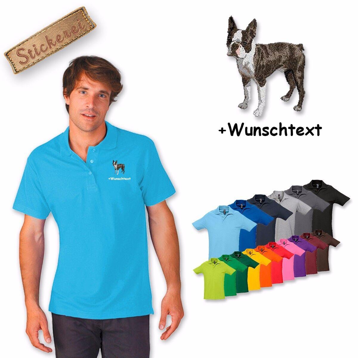 Polo Camicia Ricamata Cotone Ricamo Cane Boston Terrier + Testo a Scelta